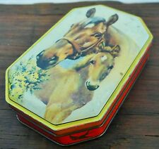 Vintage Blue Bird Toffee Tin - Horse & Foal Picture On Lid
