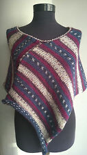 DUKYANA hand knitted wool PONCHO spring shrug summer wrap multi-color sweater