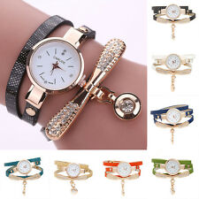 Women Luxry Lady's Faux Leather Rhinestone Analog Quartz Fashion Wristwatches