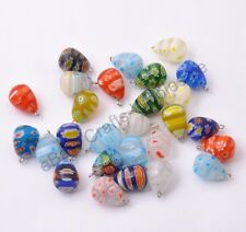1-10Pcs Mix Colour Millefiori Glass Drop Pendant Fit for Necklace Earring