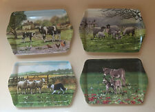 Farmyard  Cow / Sheep /Collie dogs  / Donkeys  melamine Tea or sandwich  tray .