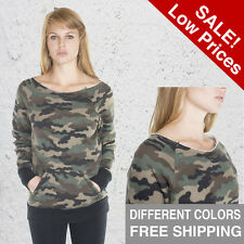 Womens Sweatshirt Fleece Open Shoulder Size X, S, M, L, X,  Camo Camouflage USA
