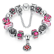 EUROPEAN PINK MURANO GLASS BEAD Silver Plated Crystal Charm Bracelet with Charms