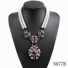 new luxury chunky statement bib pearl big crystal pendant necklace for women