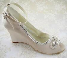 US 7 Champagne Satin Wedge Wedding Shoes Pearl Beaded Ankle Strap Bridal Shoes