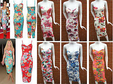 Womens Celebrity Inspired Floral Print Ladies Strap Cami Midi Bodycon Dress 8-14