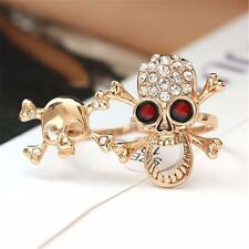 Vogue Typical Gothic/Punk Gold/Silver Crystal Skull Two Finger Double Ring Hot
