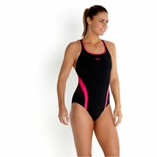 Speedo Womens Womans Competitive Black Pink Swimwear Swimsuit Swimming Costume