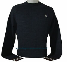 Men's New Fred Perry Textured Crew Neck Jumper in Navy WAS £90 NOW £70