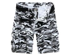 New Mens Black White Grey Camo Shorts Camouflage Military Pants Cargo Casual