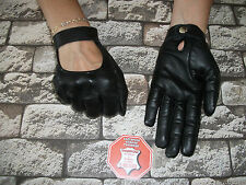 FASHION   BLACK LEATHER DRIVING GLOVES