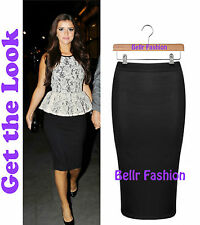 NEW CELEB STYLE BLACK HIGH WAIST ELASTICATED WAISTBAND BODYCON PENCIL SKIRT 8-14