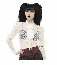 Womens Floral Lace High Neck Steampunk Gothic Victorian Blouse & Bow. Sizes S-XL