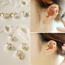 Punk FAshion Pearl Ear Wrap Ear Cuff Earring Cartilage Clip On No Piercing