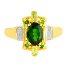 Chrome Diopside Perdiot Genuine Gemstone & Diamond Ring In 10 Kt Yellow Gold