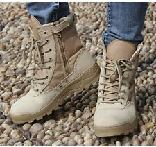 Mens Military Tactical Ankle Boots Leather Combat Work Shoes SWAT Lace Up Black