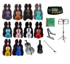 New Cello,Hard Case,Bag,Bow,Rosin,2 Sets Strings,Tuner,2 Stands~Student Beginner
