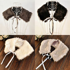 New Ladies Faux Fur Shoulder Shawl Wrap Ribbon Bow Collar Wrap Shrug Scarf T1