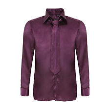 Robelli Men's Diamante Collar Cuff Satin Shirt & Matching Tie - Plum Purple