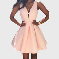 Sexy Women Sleeveless Pleated Backless Cut Out Deep V Neck Party Prom Mini Dress