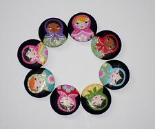"Handmade Fabric Covered Button Large sz 1.5""/38 mm Matryoshka Dolls Metal Shank"