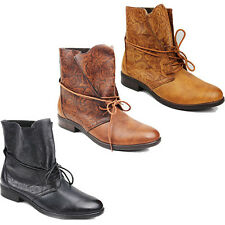 NEW WOMENS LADIES CASUAL LOW BLOCK HEEL LACE UP ANKLE BOOTS SHOES SIZE 3-8