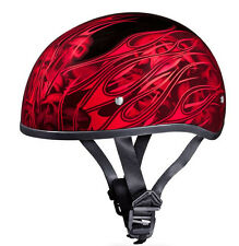 SMALLEST DOT Daytona RED FLAMES & SKULLS Motorcycle Half Helmet LOW PROFILE