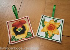 Gift Set 2 Fabric Lavender Bags Daffodil and Pansy Flowers Designs. Aromatic