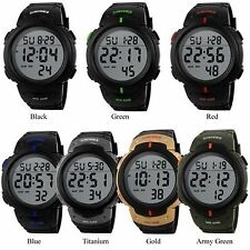 Men's Boy Fashion LCD Digital Stopwatch Date Rubber Sport Wrist Watch Waterproof