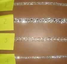 Silver Blingy Diamante Trim, Bridal Belts,Bags,Dress Straps, Millinery or Crafts