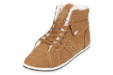 Womens Fur Lined Boots High Top Ankle Ladies Trainer Sneaker Plimsole Shoes