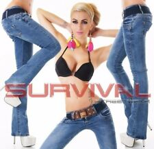 Womens Jeans Bootcut Blue Sexy Low Rise Hipster with Free Belt Size 6 8 10 12 14