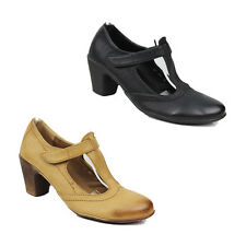 WOMENS LADIES MID HIGH CUBN HEEL MARY JANE T-BAR COURT SHOES SANDALS SIZE 3-8
