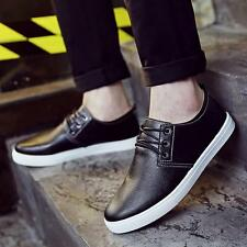 Men Low Top Leather Round Shallow Mouth Sneakers Breathable Casual Shoes