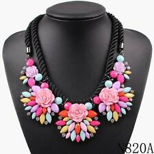 new design colorful flower pendant rope chain luxury chunky statement necklace