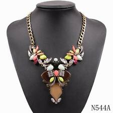new fashion gold plated chain colorful resin flower chunky statement necklace
