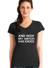 Now My Watch Has Ended Gift Idea Cool V-Neck Women T-Shirt Funny