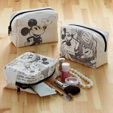 DISNEY Mickey Black & White Cosmetic Pouch Makeup Bag Purse Made in Japan T3743