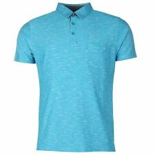 Pierre Cardin Mens Striped Polo Shirt Teal New With Tags