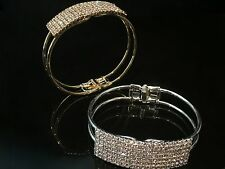 Silver & Gold Tone Sparkling AB Austrian Crystal Hinged Bangle Cuff Bracelet