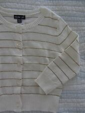 NWT BABY GAP Striped Cardigan Baby Girl Size 12-18 Months Ivory Sweater Golden