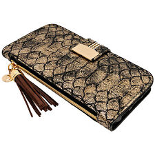 Womens SnakeSkin GOLD PU Leather Flip Wallet Case Card Holder iPhone 6 6S Plus