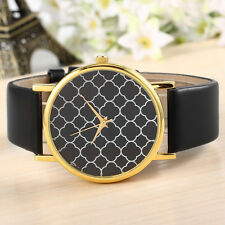 New Clover Printed Leatheroid Band Quartz Watches Women Men Round Dial Watch