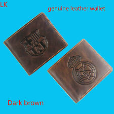 For Real Madrid Barcelona fan genuine leather wallet ID Card Holder bifold Purse