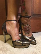 NWT-JESSICA SIMPSON VINDIE METALLIC GOLD/COPPER ANKLE STRAP HEELS (Sz Varies)