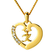 18k Gold Plated Heart Pendant With Initial - Name Necklace - Personalised