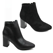 WOMENS LADIES BLOCK MID HIGH HEEL CHELSEA ANKLE BOOTS BOOTIES SHOES SIZE 3-8