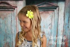 Girls Toddler grosgrain Ribbon Flower Snappy Clip yellow pink purple ivory neon