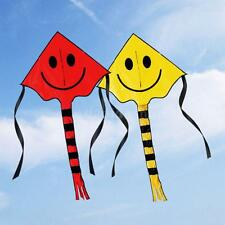 Cute Smiley Face Kite Easy to Fly Single Line Fun Childrens Kids Toy Colors O0X2