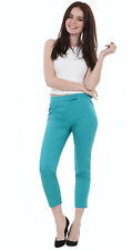 Ladies Ankle Grazers Crops Womens Slim Cropped Trousers Cotton Stretch Pants